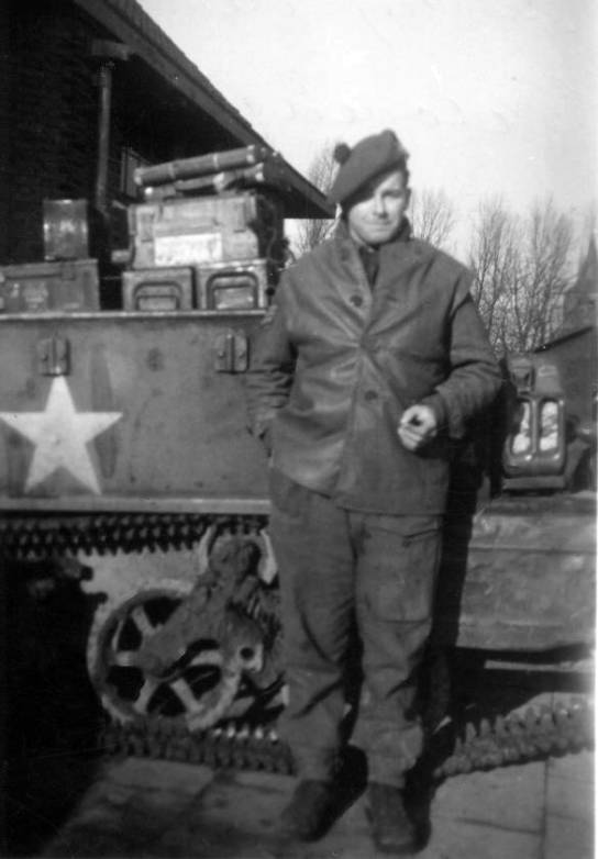 CSM James Petrie in front os carrier, Holland November 1944