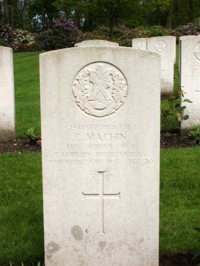 Headstone of Private C. Machin