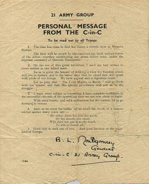 Montgomery's letter to all troops prior to D-Day