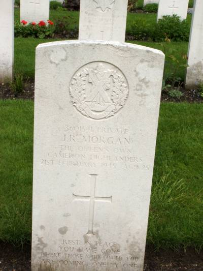 Headstone of Private J.R. Morgan