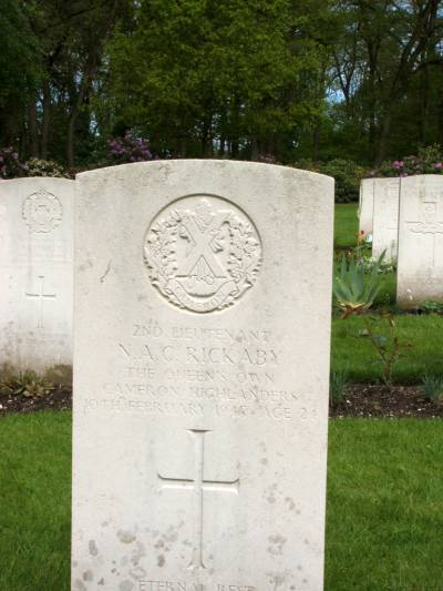 Headstone of 2nd Lieutenant N.A.C. Rickaby