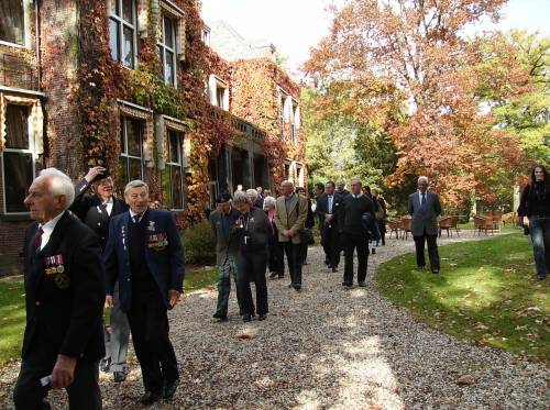 51st Highland Division veterans March to their farewell lunch at Huize Bergen, Vught.