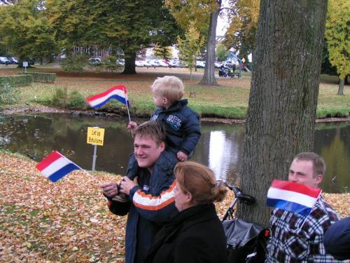 The citizens of Vught line the streets to greet and thank the 51st Highland Division veterans on their parade of honour