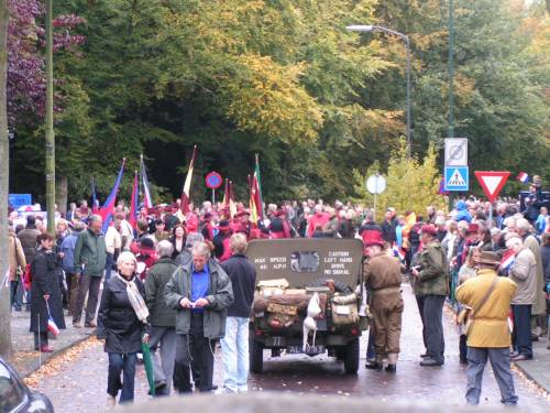 The people of Vught come onto the streets in tribute to the 51st Highland Division veterans, Vught 65th liberation anniversary.