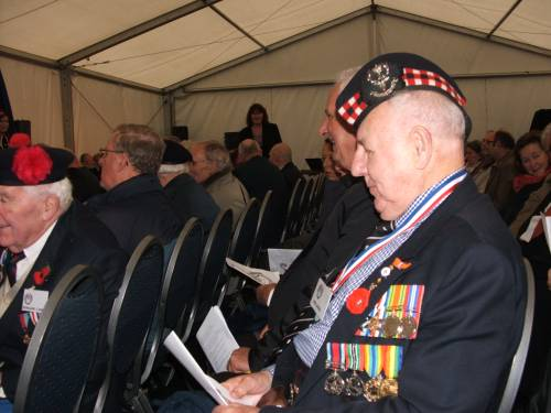 Eric Wood, Seaforth Highlanders and 51st Highland Division veterans attend a remembrance ceremony and wreath laying at the Lambertus Tower, Vught.