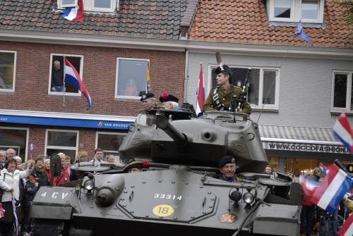 Piper Grant, Roland J. Dane, 7th Black Watch & Douglas Roger, 5th Black Watch, 51st Highland Division veterans in a Chaffee tank, veterans parade of honour, Vught Holland October 2009