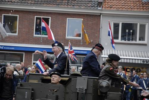 Richard Massey (left) 5th battalion Queens Own Cameron Highlanders & Eric Wood (right) Seaforth Highlanders, travel in a WW2 Bren carrier, 51st Highland Division veterans parade of honour, Vught, Holland, October 2009