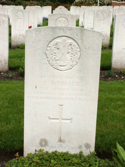 Headstone of Private C. Webster