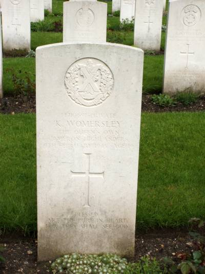 Headstone of Private K. Womersley